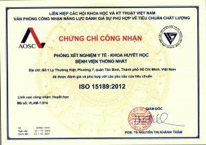 Khoa Huyết học – Bệnh viện Thống Nhất đón nhận chứng chỉ công nhận ISO 15189:2012